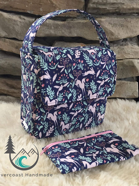 Patterned lunch sac and reusable food storage bags, product handmade on Vancouver Island by Evercoast Handmade, Island Crafted listing