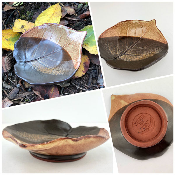 Clay leaf platters, locally made products on Vancouver Island