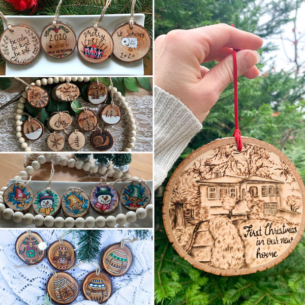 Wooden pyrography Christmas ornaments, personalization available for custom orders