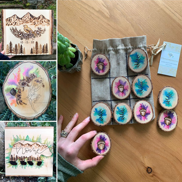 wood burnt art, product made on Vancouver Island gift ideas
