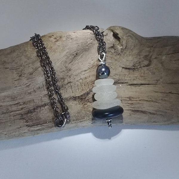 seaglass pendant made on Vancouver Island