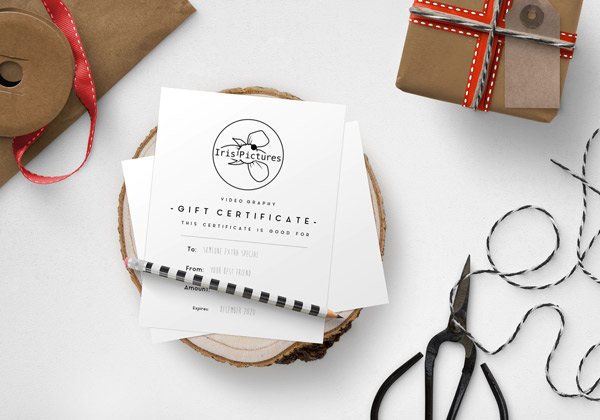 Gift certificate for videography services on Vancouver Island, Iris Pictures