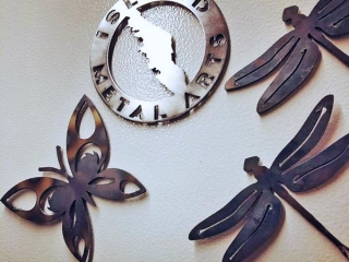 Dragonfly and Butterfly garden decor, made in Canada by Island Metal Arts