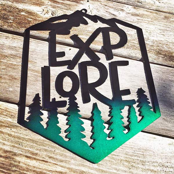 metal art sign saying Explore, handmade in Canada by Island Metal Art