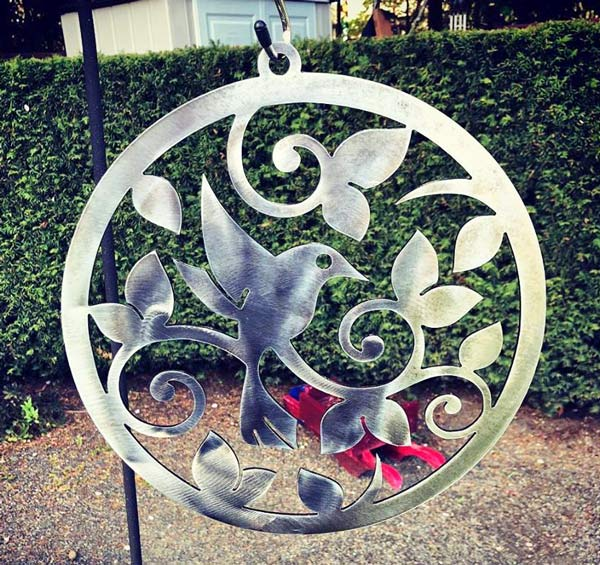 hummingbird metal art garden decor, handmade in Victoria by Island Metal Arts