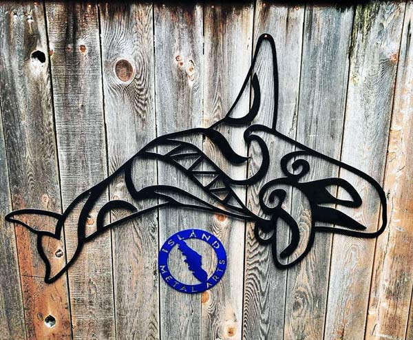 metal art killer whale (Orca) decor, handmade by Island Metal Arts