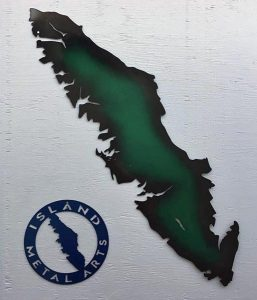 Metal Vancouver Island sign, locally made by Island Metal Works