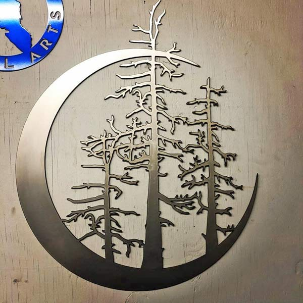 moon and trees Canadian made metal art sign, locally handmade by Island Metal Arts