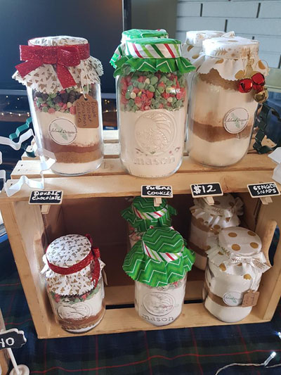 Jars of premade cookies mixes, handmade on Vancouver Island and Hornby Island by Island Reveries