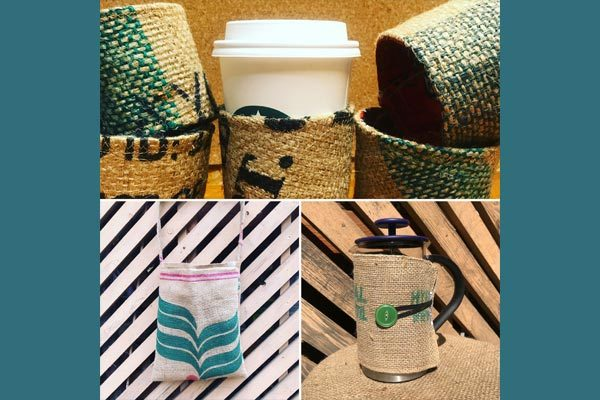 recycled burplap bags and coffee cozies, eco-concious gifts on Vancouver Island