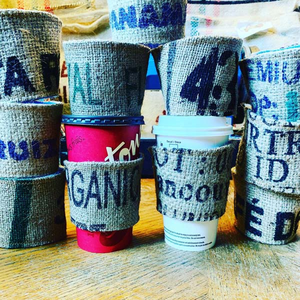 upcycled coffee cup cozies (koozies) handmade on Vancouver Island by Island Java Bag