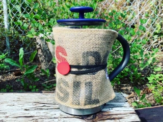 upcycled burlap french press cozy (koozie) hand made on Vancouver Island by Island Java Bag