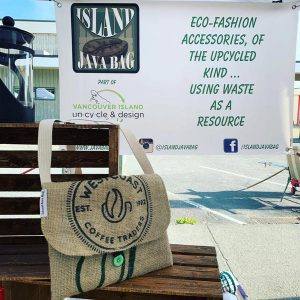 upcycled/recycled burlap purse made from Coffee bags, hand made on Vancouver Island by Island Java Bag