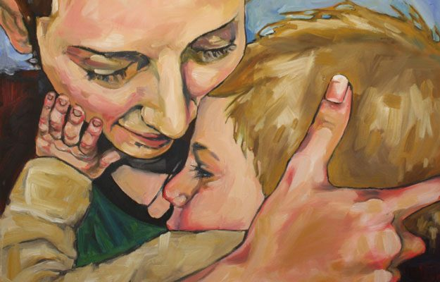 handpainted portrait made in Parksville of mother and child by Jennifer Degroot