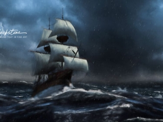 Painting of a sailboat in rough seas, by Vancouver Island artist Jordan Blackstone
