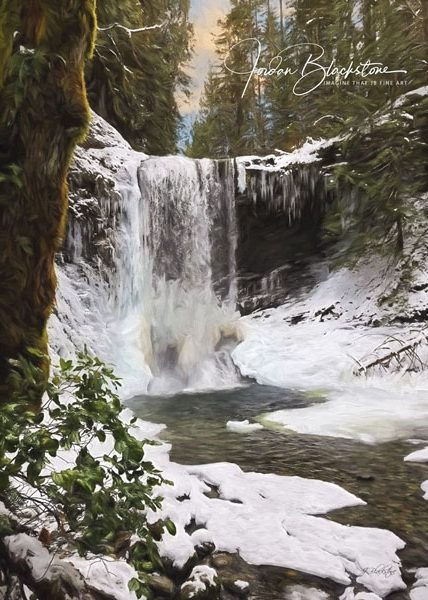 photo of a waterfall in winter surrounded by snow by Jordan Blackstone, Vancouver Island photographer