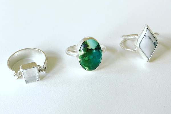 Sterling rings, diamond square oval, Canadian made product from Vancouver Island by K-Bo Jewelry