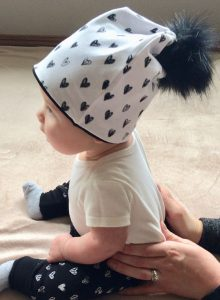 baby beanie with hearts, handmade in Nanaimo, Vancouver Island products