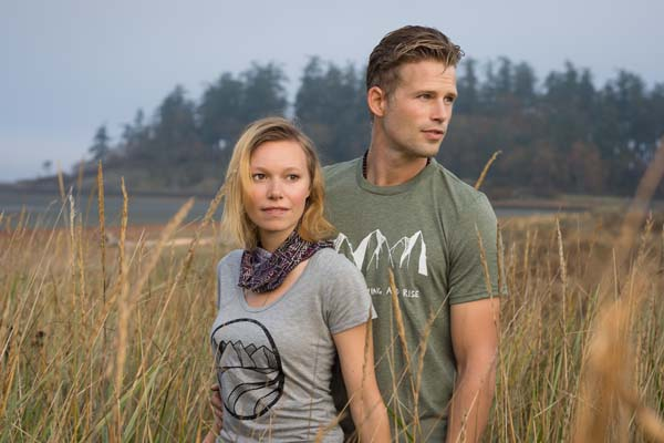 man and woman wearing west cost design bamboo shirts