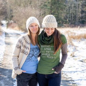 two women wearing bamboo / organic cotton shirts with west coast designs