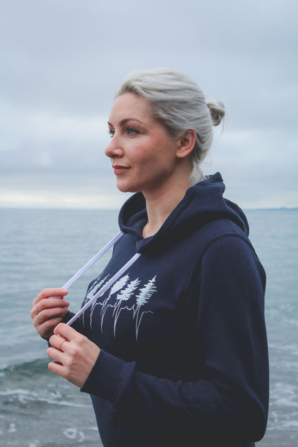 organic cotton and bamboo treeline hoodie made in Canada by Kindred Coast