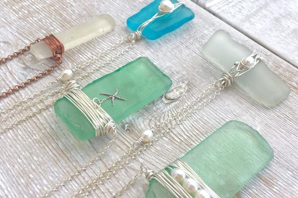 Sea glass necklaces, locally made in Port Hardy on Vancouver Island