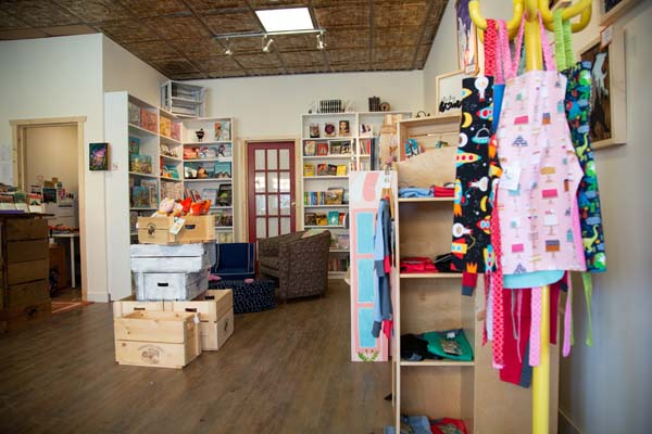 interior of Little Village Store, local Vancouver Island children's store retailer in Cumberland