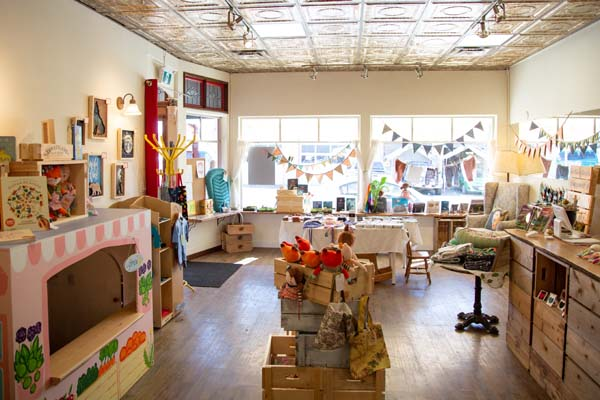 interior of Little Village Store, local Vancouver Island retailer in Cumberland