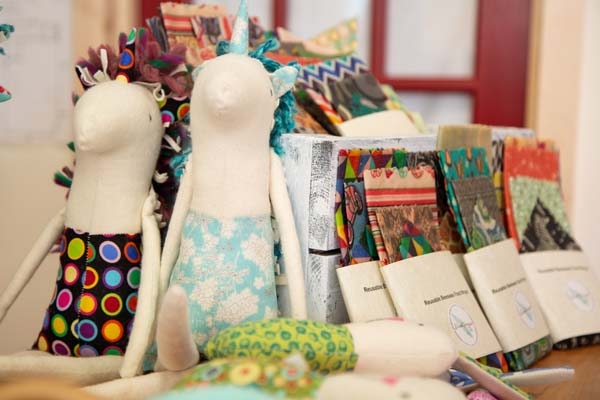 beeswax wraps and handmade unicorns in interior of Little Village Store, local Vancouver Island retailer in Cumberland