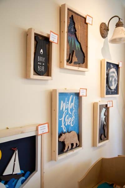 handmade wall art, interior of Little Village Store, local Vancouver Island retailer in Cumberland