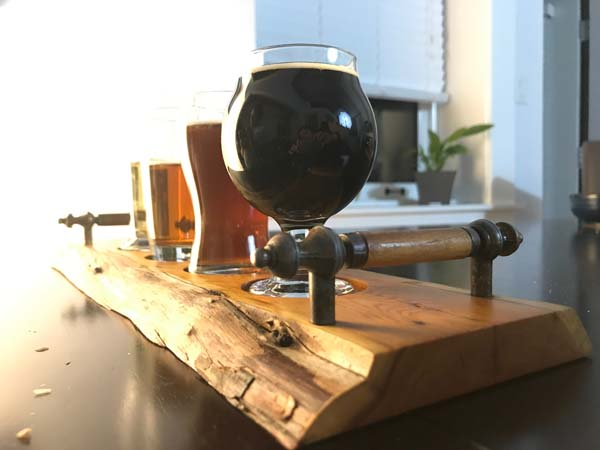 handmade wooden beer flight tray made on Vancouver Island