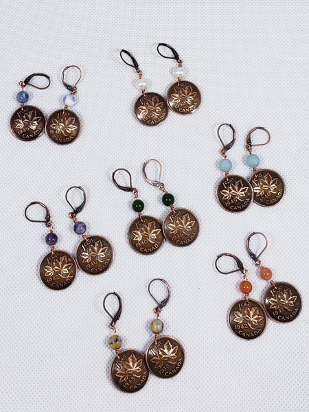 earrings made from pennies, made on Vancouver Island in Victoria Canada by Lost Things