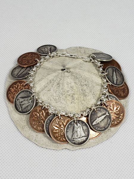 coin ring bracelet, made on Vancouver Island in Victoria Canada by Lost Things