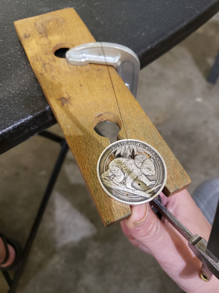 work in progress of Australia coin ring jewelry, made on Vancouver Island in Victoria Canada by Lost Things