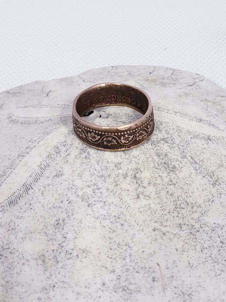 Old coin ring, handmade in Victoria Canada by Lost Things