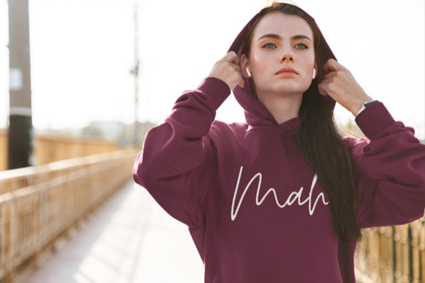 wine coloured Mah Apparel hoodie, clothing printer on Vancouver Island in Campbell River BC