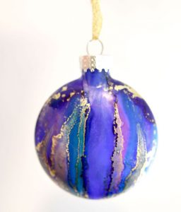 Blue, gold, pink ornament, handpainted in Victoria by Mermaid at Heart
