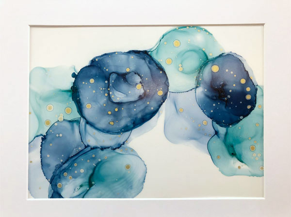 blue and gold alcohol ink painting, handmade in Victoria BC Vancouver Island by Mermaid at Heart