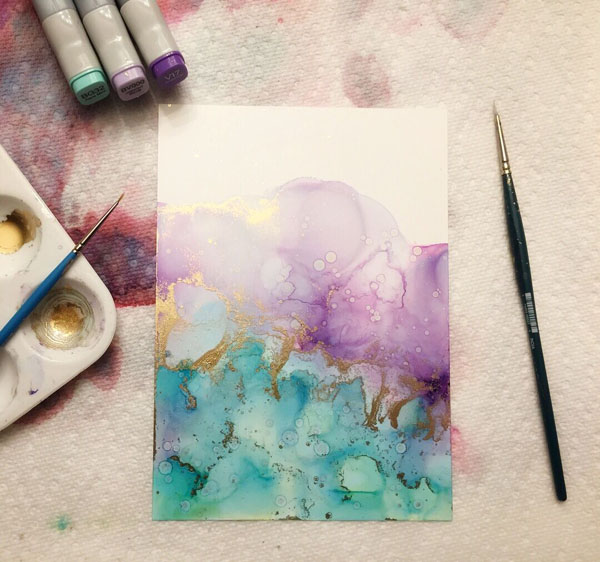 Alcohol ink painting art in progress, made on Vancouver Island in Victoria by Mermaid at Heart