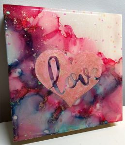 """""""Love"""" alcohol ink painting, made by Mermaid at Heart in Victoria, B.C."""
