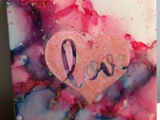 """""""Love"""" alcohol ink painting, made by Mermaid at Heart in Victoria, B.C. Vancouver Island product"""