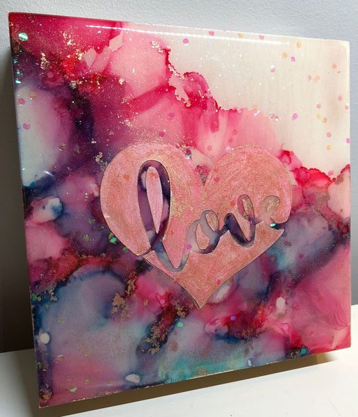 """Love"" alcohol ink painting, made by Mermaid at Heart in Victoria, B.C."