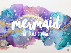 Mermaid at Heart Studio logo, fluid ink artist in Victoria