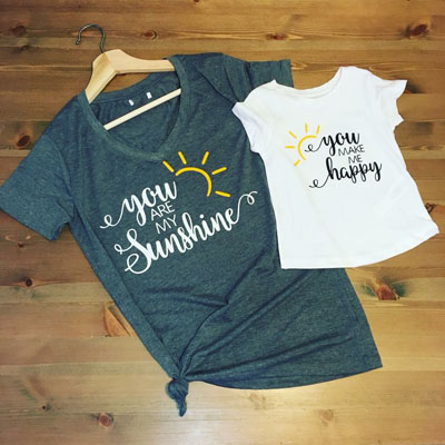 "Matching parent and tot shirts, saying ""You are my sunshine, you make me happy"" handmade by Modern Mini's on Vancouver Island"