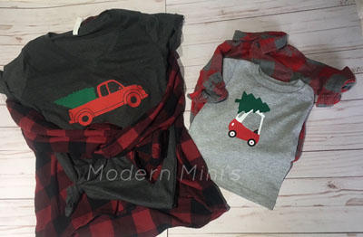 Matching parent and tot shirts, handmade by Modern Mini's on Vancouver Island