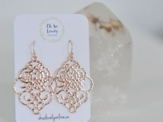 Rose Gold dangling earrings, handmade on Vancouver Island by Oh So Lovely