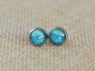 "Earrings that say ""Beach Please"", product locally made in Parksville on Vancouver Island"