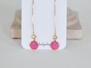 Pink drop earrings, product handmade on Vancouver Island by Oh So Lovely