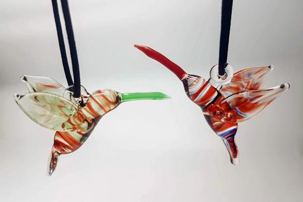 glass hummingbird ornament, locally handmade on Saltspring Island B.C.