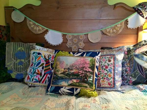 upcycled vintage pillows of various designs by Vancouver Island sewist Prim Stargazer in Qualicum Beach